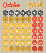 Month planning calendar - October 2016 Stock Illustration