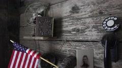 Pioneers rustic beginning, time capsule Stock Footage