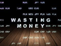 Banking concept: Wasting Money in grunge dark room - stock illustration