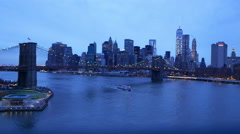 New York - Manhattan downtown skyline in the evening Stock Footage