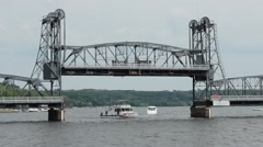 boats under a bridge - stock footage