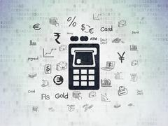 Stock Illustration of Currency concept: ATM Machine on Digital Paper background