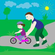 Dad with his daughter and a bicycle. - stock illustration