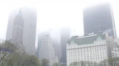 Manhattan buildings in the mist - on a rainy day Stock Footage