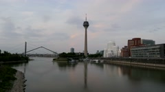 TL Time-Lapse 4K Düsseldorf skyline TV Tower river Rhine Mediahafen Stock Footage