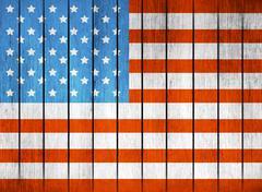 American Wooden Flag - stock illustration