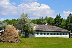 Stock Photo of Authentic Ukrainian ancient house with thatched roof.