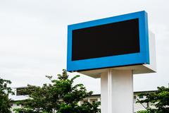 Empty black digital billboard screen for advertising - stock photo