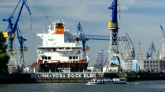 4K Blohm + Voss Dock Elbe 17 at Port of Hamburg Harbour Port Germany Stock Footage