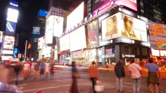Time-lapse shot of Times Square Manhattan by night Stock Footage