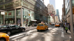 Streets in Manhattan, New York - street traffic Stock Footage