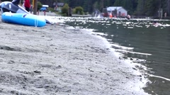 One side of people having fun on a peaceful lake shore Stock Footage