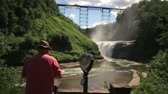 Tourist at Letchworth State Park Upper Falls Stock Footage