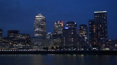 Time Lapse Canary Wharf London Thames River Area Buildings Lights Nightfall Stock Footage