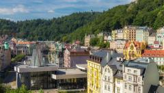 Karlovy Vary town panorama Stock Footage
