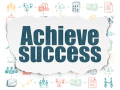 Stock Illustration of Business concept: Achieve Success on Torn Paper background