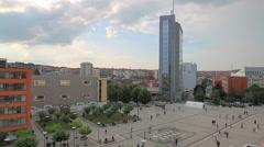 Scanderbeg Square Pristina panoramic view Stock Footage