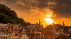 Sunset in Karlovy Vary (Carlsbad ) Czech Republic Stock Footage
