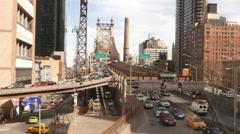 Queensboro Bridge in Manhattan street traffic Stock Footage