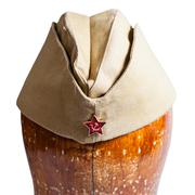 military garrison cap with soviet red star sign - stock photo