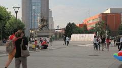 New fountain Scanderbeg Square Pristina Stock Footage