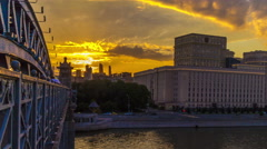 Moscow city at sunset time timelapse Stock Footage