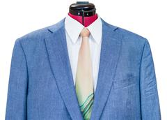 blue silk jacket with shirt and tie close up - stock photo