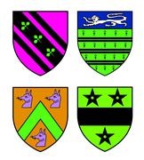 Authentic medieval heraldry shields recolored Stock Illustration