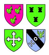 Authentic medieval heraldry shields recolored - stock illustration