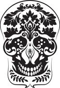 Black leafs skull Stock Illustration