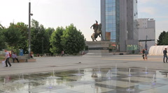 New fountain Scanderbeg Square Pristina Stock Footage
