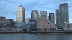 Canary Wharf London Landscape Thames River Office Buildings Lights Dusk Time Stock Footage