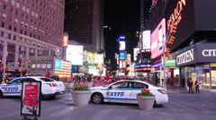 NYPD police car at Times Square New York Stock Footage