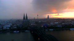 TimeLapse Dramatic stormy Cologne Köln Koln skyline night Rhine Germany 4K Stock Footage