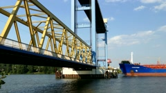 TL 4K Chemical ship passing through a Lift bridge Hamburg Harbour port Stock Footage