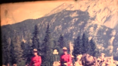 1951 Native people, Mounties leading parade, native people on horses Stock Footage