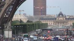 Eiffel Tower Champ-De-Mars Parisian Tourism District Buildings Many Visitors Stock Footage