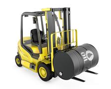 Yellow fork lift lifts oil barrel - stock illustration