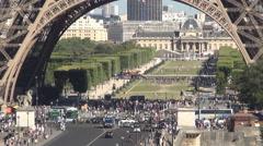 Champ-De-Mars Eiffel Tower Paris Tourism Symbol Famous Place Pont d'Iena Bridge - stock footage