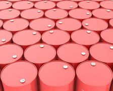 Stock Illustration of Large group of red barrels