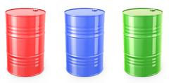 Three single red barrels, red, green and blue - stock illustration