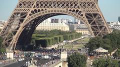 Champ-De-Mars Pont d'Iena Eiffel Tower Paris Symbol Famous International Tourism Stock Footage