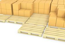 Stacks of cardboard boxes on a pallets - stock illustration
