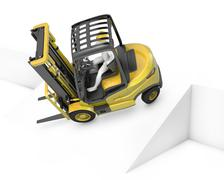 Yellow fork lift truck falling after turning on slope Piirros