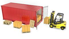 Yellow fork lift truck unloads red container Piirros