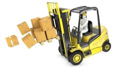 Overloaded yellow fork lift truck falling forward Piirros