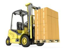 Yellow fork lift truck with big stack of carton boxes Piirros