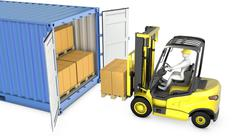 Yellow fork lift truck unloads cargo container Piirros