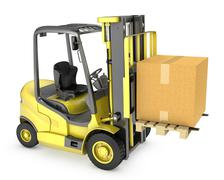 Yellow fork lift truck with large carton box - stock illustration