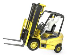 Abstract white man in a fork lift truck, balancing on rear wheel Piirros